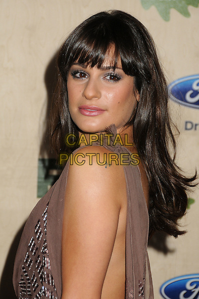 Lea Michele.7th Annual Fox Fall Eco-Casino Party held at The Bookbindery, Culver City, California, USA..September 12th, 2011.headshot portrait silver beige sleeveless tattoo brown side musical note.CAP/ADM/BP.©Byron Purvis/AdMedia/Capital Pictures.