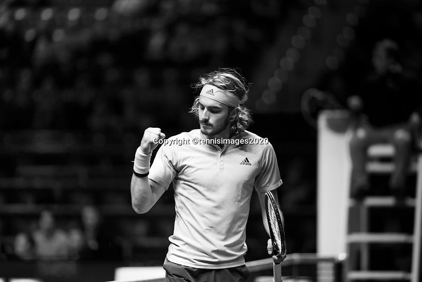 Rotterdam, The Netherlands, 9 Februari 2020, ABNAMRO World Tennis Tournament, Ahoy, Stefanos Tsitsipas (GRE), Aljaz Bedene (SLO).<br /> Photo: www.tennisimages.com