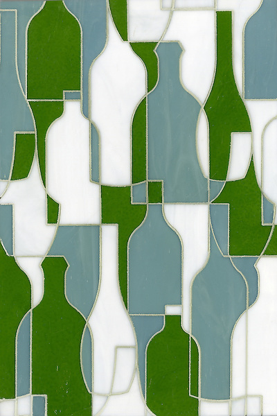 Bottles, a glass waterjet mosaic shown in Eva, Serpentine and Moonstone, is part of the Erin Adams Collection for New Ravenna Mosaics.<br />