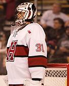 Merrick Madsen (Harvard - 31) - The Harvard University Crimson defeated the Northeastern University Huskies 4-3 in the opening game of the 2017 Beanpot on Monday, February 6, 2017, at TD Garden in Boston, Massachusetts.