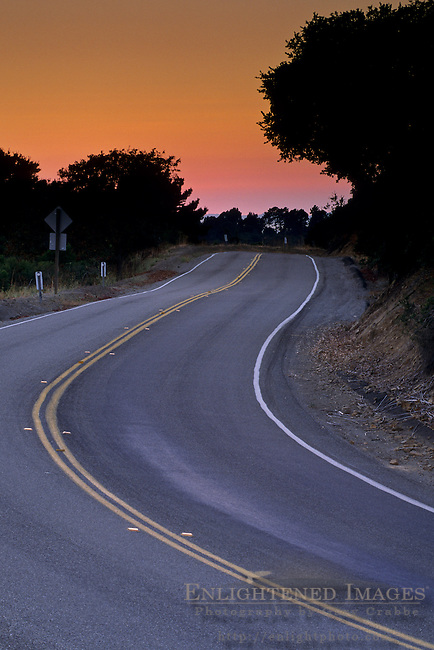 Road at sunset in the San Leandro Hills, Alameda County, CALIFORNIA