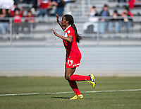 Tiffany McCarty (14) of the Washington Spirit celebrates her goal during the game at the Maryland SportsPlex in Boyds, MD.  The Washington Spirit defeated the North Carolina Tar Heels in a preseason exhibition, 2-0.