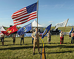A near record crowd hot air balloon fans filled the hillsides at the National Balloon Classic launch field July 29 for opening ceremonies, balloon launches and music. Scouts lead to opening ceremony carrying the U.S. flag as well as a flag representing the home state of each balloonist.