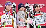 13.03.2010, Goudyberg Herren, Garmisch Partenkirchen, GER, FIS Worldcup Alpin Ski, Garmisch, Men Slalom, im Bild Podium des Gesamtweltcup 2009 2010 Damen v.l. zeitplazierte Riesch Maria ( GER ), erstplazierte  Lindsey Vonn ( USA ), drittplazierte Paerson Anja ( SWE ), EXPA Pictures © 2010, PhotoCredit: EXPA/ J. Groder