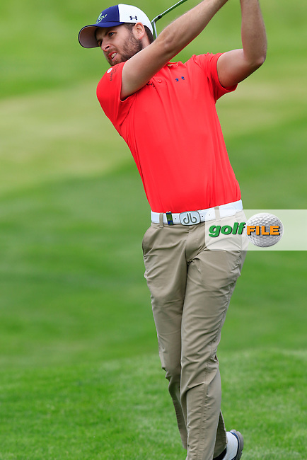 Ruaidhri McGee (IRL) plays his 2nd shot on the 16th hole during Thursday's Round 1 of the 2016 Dubai Duty Free Irish Open hosted by Rory Foundation held at the K Club, Straffan, Co.Kildare, Ireland. 19th May 2016.<br /> Picture: Eoin Clarke | Golffile<br /> <br /> <br /> All photos usage must carry mandatory copyright credit (&copy; Golffile | Eoin Clarke)
