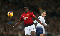 Manchester United's Paul Pogba and Tottenham Hotspur's Christian Eriksen<br /> <br /> Photographer Rob Newell/CameraSport<br /> <br /> The Premier League - Tottenham Hotspur v Manchester United - Sunday 13th January 2019 - Wembley Stadium - London<br /> <br /> World Copyright &copy; 2019 CameraSport. All rights reserved. 43 Linden Ave. Countesthorpe. Leicester. England. LE8 5PG - Tel: +44 (0) 116 277 4147 - admin@camerasport.com - www.camerasport.com
