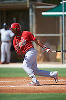 GCL Cardinals third baseman Starlin Balbuena (46) at bat during the first game of a doubleheader against the GCL Marlins on August 13, 2016 at Roger Dean Complex in Jupiter, Florida.  GCL Cardinals defeated GCL Marlins 4-2 in a continuation of a game originally started on August 8th.  (Mike Janes/Four Seam Images)
