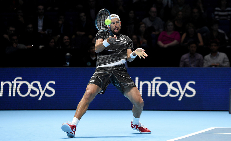 Lukaz Kubot in action against Mike Bryan and Jack Sock<br /> <br /> Photographer Hannah Fountain/CameraSport<br /> <br /> International Tennis - Nitto ATP World Tour Finals Day 2 - O2 Arena - London - Monday 12th November 2018<br /> <br /> World Copyright © 2018 CameraSport. All rights reserved. 43 Linden Ave. Countesthorpe. Leicester. England. LE8 5PG - Tel: +44 (0) 116 277 4147 - admin@camerasport.com - www.camerasport.com