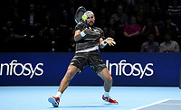 Lukaz Kubot in action against Mike Bryan and Jack Sock<br /> <br /> Photographer Hannah Fountain/CameraSport<br /> <br /> International Tennis - Nitto ATP World Tour Finals Day 2 - O2 Arena - London - Monday 12th November 2018<br /> <br /> World Copyright &copy; 2018 CameraSport. All rights reserved. 43 Linden Ave. Countesthorpe. Leicester. England. LE8 5PG - Tel: +44 (0) 116 277 4147 - admin@camerasport.com - www.camerasport.com