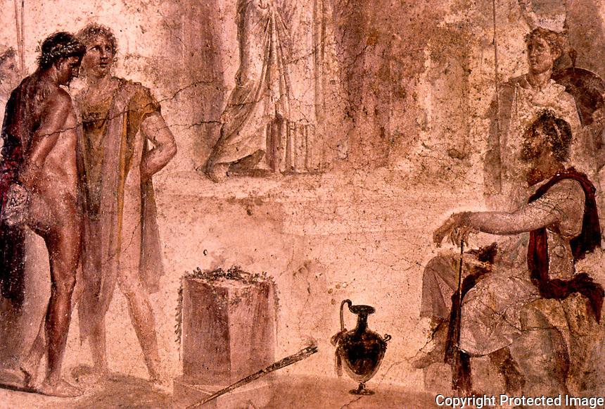 Roman Art:  Fresco--Orestes, ...Aegistus and Clytemnestra.  National Museum, Naples.
