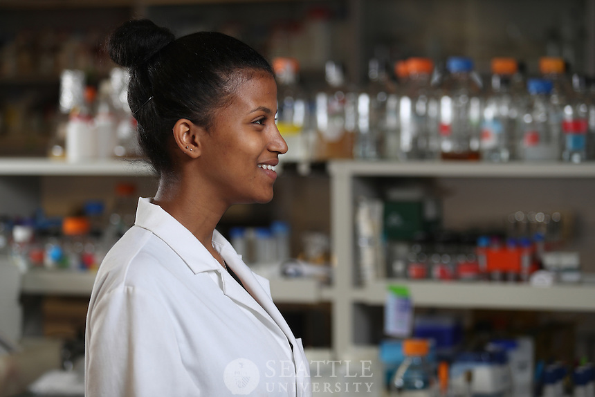December 20th 2016- Tsehay Abebe, '13, Cell and Molecular Biology alum from Addis Ababa, Ethiopia. Abebe came to Seattle at age 17 from Ethiopia and is currently in medical school at Washington University School of Medicine in St. Louis, Missouri. She plans to practice in pediatrics after medical school.