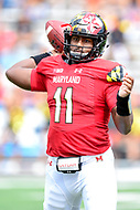 College Park, MD - SEPT 22, 2018: Maryland Terrapins quarterback Kasim Hill (11) throws a pass from the pocket during game between Maryland and Minnesota at Capital One Field at Maryland Stadium in College Park, MD. The Terrapins defeated the Golden Bears 42-13 to move to 3-1 on the season. (Photo by Phil Peters/Media Images International)