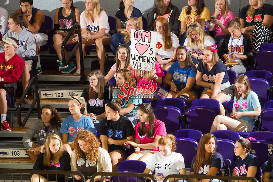 Members of the Phi Mu sorority were on hand to support the High Point Panthers volleyball team as they took on the VCU Rams at Millis Athletic Center on September 17, 2013 in High Point, North Carolina.  The Rams defeated the Panthers 3-0.   (Brian Westerholt/Sports On Film)
