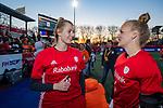 UTRECHT - keeper Alexandra Heerbaart (Ned) met keeper Anne Veenendaal (Ned) na    de Pro League hockeywedstrijd wedstrijd , Nederland-China (6-0) . Heerbaart speelde haar eerste interland. COPYRIGHT  KOEN SUYK