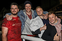 Jersey Reds players and supporters celebrate victory in the Greene King IPA Championship match between London Scottish Football Club and Jersey Reds at Richmond Athletic Ground, Richmond, United Kingdom on 16 March 2018. Photo by David Horn.