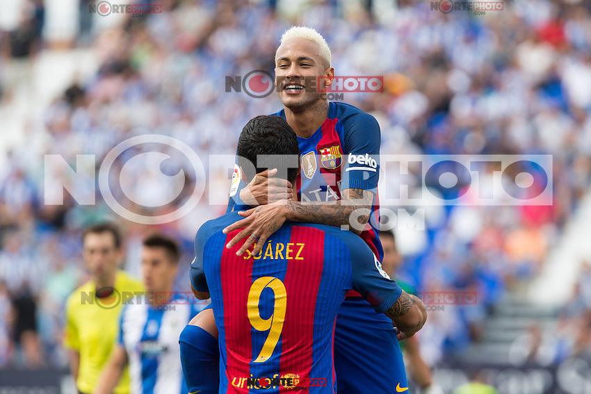 FC Barcelona's Neymar Santos Jr ansd Luis Suarez during the match of La Liga between Club Deportivo Leganes and Futbol Club Barcelona at Butarque Estadium in Leganes. September 17, 2016. (ALTERPHOTOS/Rodrigo Jimenez) /NORTEPHOTO