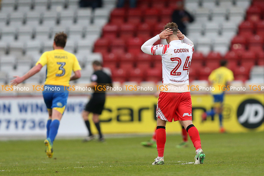 Frustration for Matthew Godden of Stevenage during Stevenage vs Accrington Stanley, Sky Bet EFL League 2 Football at the Lamex Stadium on 6th May 2017