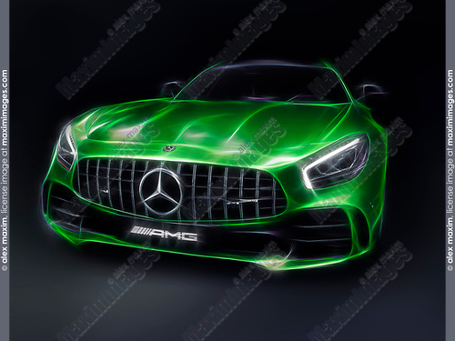 Stylized photo illustration of Green 2017 Mercedes-Benz AMG GT R Coupe sports car isolated on black background