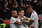 12.01.2018, BayArena, Leverkusen , GER, 1.FBL., Bayer 04 Leverkusen vs. FC Bayern M&uuml;nchen<br /> im Bild / picture shows: <br /> freut sich &uuml;ber sein Tor zum 3:1 James Rodriguez (Bayern Muenchen #11),  mitte mit re Jerome Boateng (Bayern Muenchen #17),  li Arturo Vidal (Bayern Muenchen #23), <br /> <br /> <br /> Foto &copy; nordphoto / Meuter