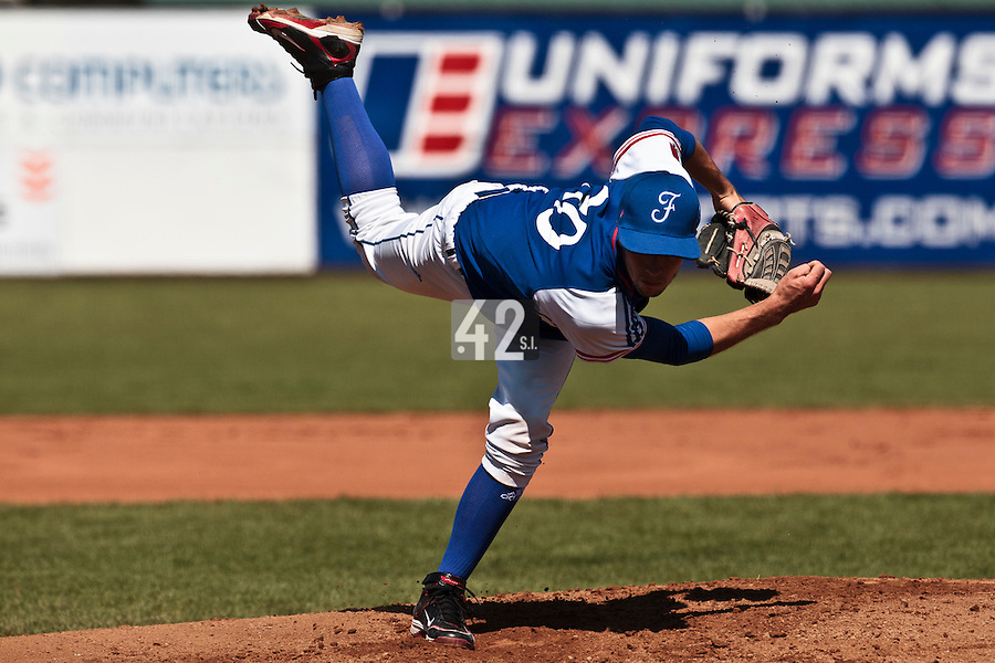 20 August 2010: Steven Vesque of Team France pitches against Italy during France 6-5 win over Italy, at the 2010 European Championship, under 21, in Brno, Czech Republic.