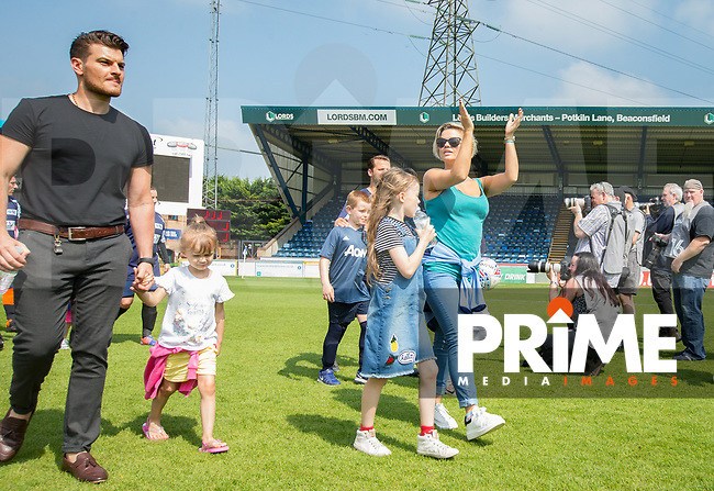 The teams head onto the pitch during the Sellebrity Soccer match for Wycombe Sports & Education Trust at Wycombe Wanderers, Adams Park, High Wycombe, England on 28 May 2018. Photo by Andy Rowland.