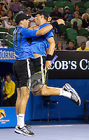 Bob & Mike Bryan (USA) (1) against Mahesh Bhupathi & Leander Paes (IND) (3) in the Final of the men's doubles. Bob & Mike Bryan beat Mahesh Bhupathi & Leander Paes 6-3 6-4..International Tennis - Australian Open  -  Melbourne Park - Melbourne - Day 13 - Sat 29th January 2011..© Frey - AMN Images, Level 1, Barry House, 20-22 Worple Road, London, SW19 4DH.Tel - +44 208 947 0100.Email - Mfrey@advantagemedianet.com.Web - www.amnimages.photshelter.com