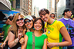 NEW YORK: AUGUST 31: Group of four girls in crowd at 24th annual Brazilian Day Festival August 31, 2008 on 46th St., in Little Brazil, near Times Square, NYC. Brazilians worldwide came to proudly share their cultural heritage.