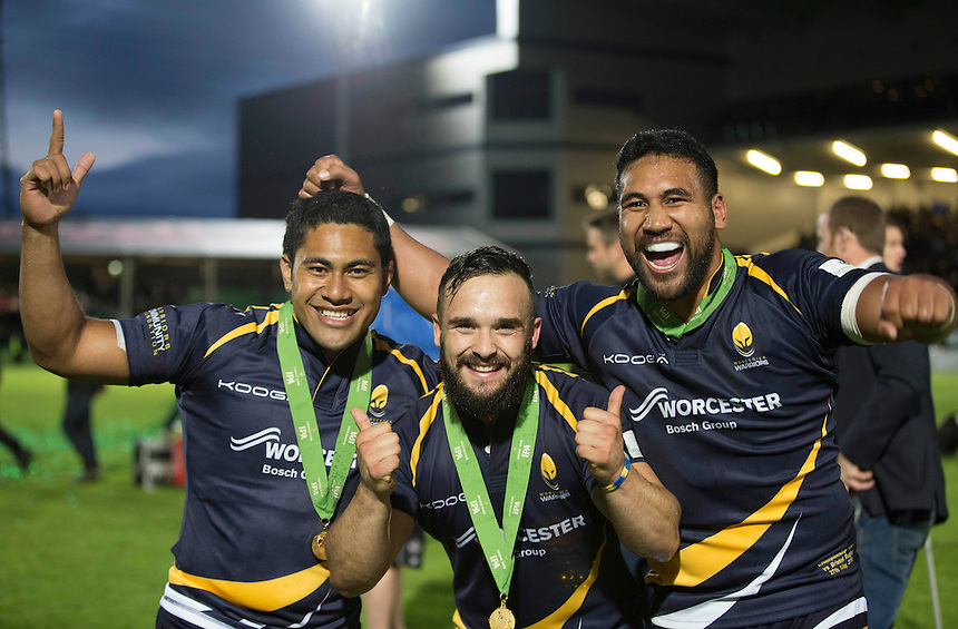 Worcester Warriors' Cooper Vuna, Worcester Warriors' Jean-Baptiste Bruzulier and Worcester Warriors' Ravai Fatiaki celebrate tonights win<br /> <br /> Photo by Rachel Holborn/CameraSport<br /> <br /> Rugby Union - Greene King Championship Final 2nd Leg - Worcester Warriors v Bristol - Wednesday 27th May 2015 - Sixways Stadium - Worcester<br /> <br /> &copy; CameraSport - 43 Linden Ave. Countesthorpe. Leicester. England. LE8 5PG - Tel: +44 (0) 116 277 4147 - admin@camerasport.com - www.camerasport.com