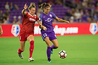 Orlando, FL - Tuesday August 08, 2017: Kassey Kallman, Alex Morgan during a regular season National Women's Soccer League (NWSL) match between the Orlando Pride and the Chicago Red Stars at Orlando City Stadium.