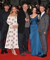 Michiel Huisman, Lily James, Mike Newell, Jessica Brown Findlay and Glen Powell at the &quot;The Guernsey Literary And Potato Peel Pie Society&quot; world film premiere, Curzon Mayfair cinema, Curzon Street, London, England, UK, on Monday 09 April 2018.<br /> CAP/CAN<br /> &copy;CAN/Capital Pictures