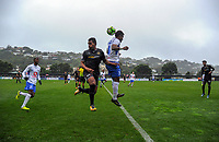 Team Wellington's Roy Kayara is beaten to a header by Lautoka's Kavaia Rawaqa during the Oceania Football Championship final (first leg) football match between Team Wellington and Lautoka FC at David Farrington Park in Wellington, New Zealand on Sunday, 13 May 2018. Photo: Dave Lintott / lintottphoto.co.nz