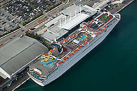 aerial photograph cruise ship docked Port of Miami Florida