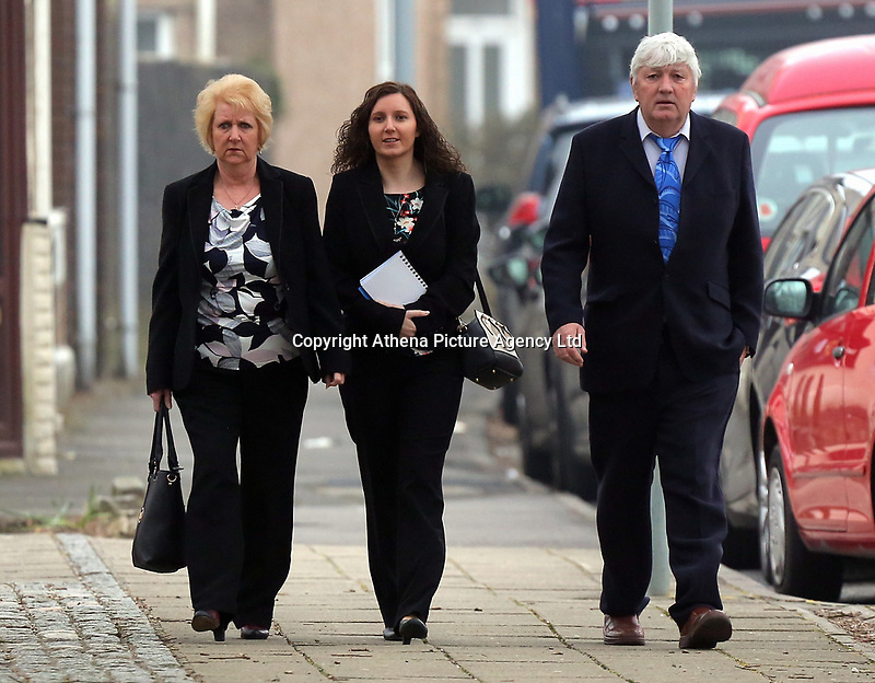 "Pictured: Nursery owner Katie Davies (C) arrives at Swansea Crown Court. 28 March 2017<br /> Re: Toddlers at a private nursery were force fed, gagged and picked up by their wrists, Swansea Crown court has heard.<br /> Three childcare professionals are accused of cruelty at the busy nursery which had a ""rough house culture"".<br /> The whistle was blown by sixthformers on work placements at the nursery which looks after newborn infants and children up to the age of seven.<br /> ""The children concerned were left distressed and traumatised.<br /> The mother of one of the children sobbed in the public gallery after hearing how he was treated at the Bright Sparks nursery in Port Talbot, South Wales,<br /> Owner and manager Katie Davies, 32, deputy manager Christina Pinchess, 31, and and staff member Shelbie Forgan, 22, deny the child cruelty charges against them."