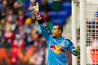New York Red Bulls goalkeeper Luis Robles (31) during the first half against D. C. United during a Major League Soccer (MLS) match at Red Bull Arena in Harrison, NJ, on March 16, 2013.