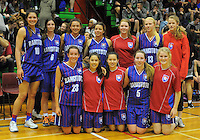 The Rangitoto team celebrate making the final after the 2013 New Zealand Secondary Schools basketball championship girls semifinals at Arena Manawatu, Palmerston North, Wellington, New Zealand on Friday, 30 August 2013. Photo: Dave Lintott / lintottphoto.co.nz