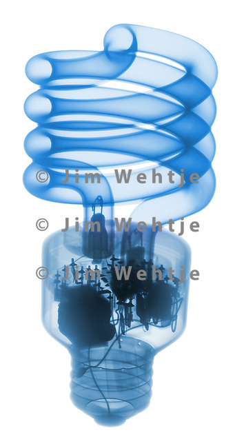 X-ray image of a compact fluorescent bulb (blue on white) by Jim Wehtje, specialist in x-ray art and design images.