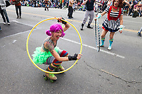 Hula hoop artist and street performer, Fremont Solstice Parade & Festival, Seattle, Washington, USA.