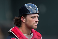 Potomac Nationals catcher Taylor Gushue (32) watches from the dugout during the game against the Winston-Salem Dash at BB&T Ballpark on August 6, 2017 in Winston-Salem, North Carolina.  The Nationals defeated the Dash 4-3 in 10 innings.  (Brian Westerholt/Four Seam Images)