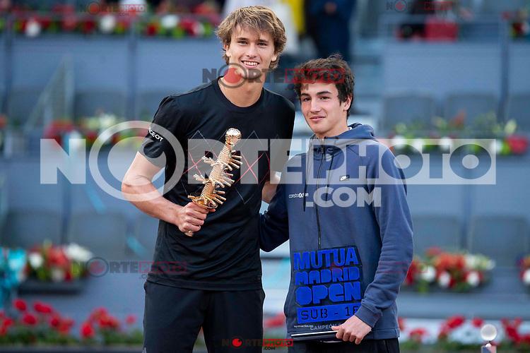 German Alexander Zverev and Mario Mansilla during Finals of Mutua Madrid Open at Caja Magica in Madrid, Spain. May 13, 2018. (ALTERPHOTOS/Borja B.Hojas)