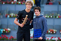 German Alexander Zverev and Mario Mansilla during Finals of Mutua Madrid Open at Caja Magica in Madrid, Spain. May 13, 2018. (ALTERPHOTOS/Borja B.Hojas)