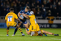 8th November 2019; AJ Bell Stadium, Salford, Lancashire, England; English Premiership Rugby, Sale Sharks versus Coventry Wasps; Rohan Janse van Rensburg of Sale Sharks is tackled by Nizaam Carr of Wasps - Editorial Use