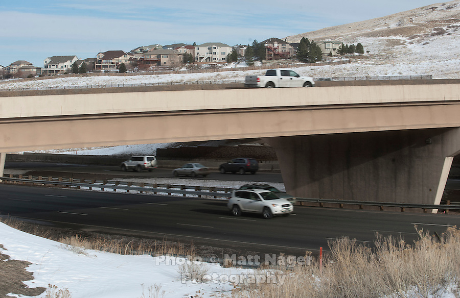 C470 and I-70 meet near Golden, Colorado, Thursday, January 12, 2012. Golden is voting on weather or not to complete the beltway around Denver...Photo by Matt Nager