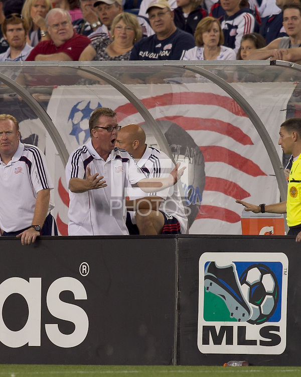 New England Revolution head coach Steve Nicol discussing a call. The New England Revolution defeated DC United, 1-0, at Gillette Stadium on August 7, 2010.