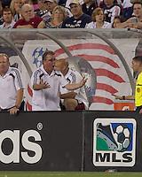 New England Revolution head coach Steve Nicol discussing a call. The New England Revolution defeated DC United, 1-0, at Gillette Stadium on August 7, 2010.