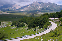 Gran Sasso National Park, Abruzzo, Italy, June 2008. over switchbacked roads we get onto the green plains of Campo Impertore.  Photo by Frits Meyst/Adventure4ever.com