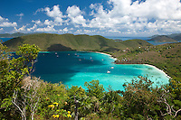 Maho and Francis Bay from America Hill.Virgin Islands National Park.St. John.U.S. Virgin Islands