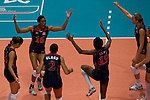 22 August 2010, Hong Kong, China ---  USA players celebrate after winning their volleyball game against China on the last day of the FIVB World Grand Prix Pool G at the Hong Kong Coliseum stadium. Photo by Victor Fraile --- Image by © Victor Fraile