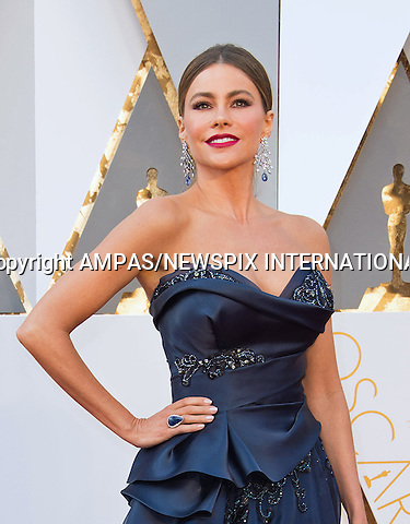 28.02.2016; Hollywood, California: 88th OSCARS - SOFIA VERGARA<br /> attend the 88th Annual Academy Awards at the Dolby Theatre&reg; at Hollywood &amp; Highland Center&reg;, Los Angeles.<br /> Mandatory Photo Credit: &copy;Ampas/Newspix International<br /> <br /> PHOTO CREDIT MANDATORY!!: NEWSPIX INTERNATIONAL(Failure to credit will incur a surcharge of 100% of reproduction fees)<br /> <br /> IMMEDIATE CONFIRMATION OF USAGE REQUIRED:<br /> Newspix International, 31 Chinnery Hill, Bishop's Stortford, ENGLAND CM23 3PS<br /> Tel:+441279 324672  ; Fax: +441279656877<br /> Mobile:  0777568 1153<br /> e-mail: info@newspixinternational.co.uk<br /> All Fees To: Newspix International
