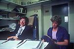 Professor Stephen Hawking Cambridge University in his office with his secretary Judy Fella. Cambridge UK. 31 July 1981.