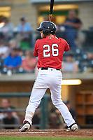 Billings Mustangs Victor Ruiz (26) at bat during a Pioneer League game against the Grand Junction Rockies at Dehler Park on August 14, 2019 in Billings, Montana. Grand Junction defeated Billings 8-5. (Zachary Lucy/Four Seam Images)